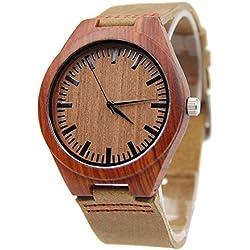 FunkyTop Rotes Sandelholz Herren Holz-Uhr mit weichem echtes Leder Red Line Strap Holz Armbanduhr