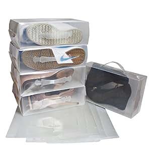 Lot de 10 Boîtes à Chaussures en Plastique Transparent par Kurty - Grandes Boîtes Pliables Empilables Démontables - Rangements Imperméables pour les Chaussures - Convient aux Chaussures Grandes, Petites et Moyennes - Idéal pour les Voyages