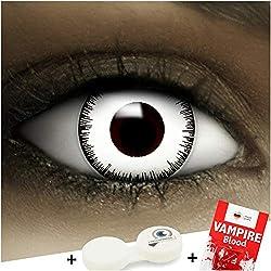 """Lentillas de color""""Vampire"""" + cápsulas de sangre artificial + recipiente de FXContacs en blanco, blandas, sin dioptrías pack de 2 unidades - cómodas y perfectas para Halloween, Carnaval, sin corregir"""