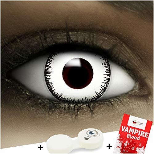 Farbige Kontaktlinsen 'Vampir' + Kunstblut Kapseln + Behälter von FXContacts in weiß, weich, ohne Stärke als 2er Pack - angenehm zu tragen und perfekt zu Halloween, Karneval, Fasching oder Fasnacht
