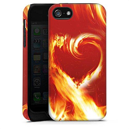 Apple iPhone X Silikon Hülle Case Schutzhülle Fire Liebe Brennendes Herz Tough Case matt