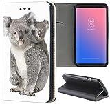 Samsung Galaxy A3 2017 Hülle Smart Flipcover Schutzhülle Case Handyhülle für Samsung Galaxy A3 2017 (547 Koala Bär mit Baby Grau Weiß)