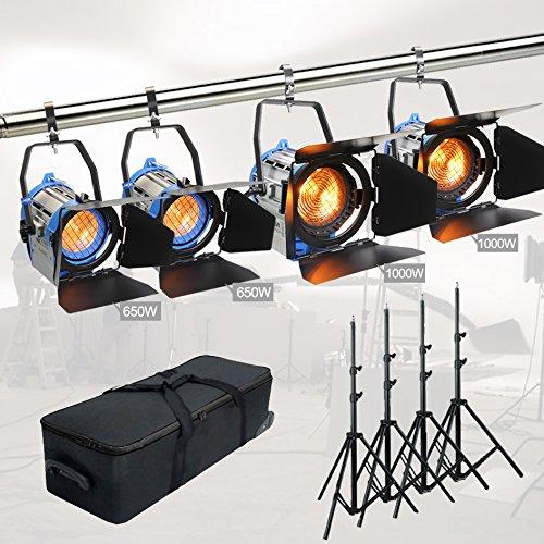 Alumotech Dimmer Built-in Fresnel Tungsten 2 x 650 Vatios + 1000 Vatios + 3 x Aire amortiguado Stand 2300W Foco Halógena Lámpara Studio Video Kit de luz para la cámara fotográfica Iluminación Compatible Bulbo