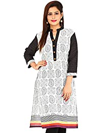 Etone Cotton Leafy Printed Embroidered Regular Fit 3/4 Sleeve Kurti For Women's