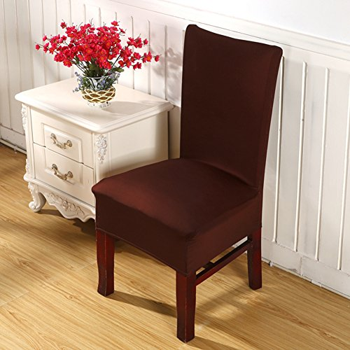 ISWEES Stretchy Chair Slipcovers 6 Pieces, Removable Washable Dining Room Stool Office Short Chair Covers,Thickening Bi-elastic Modern Printed Cotton Seat Cover, Home Party Decoration – Dark Brown