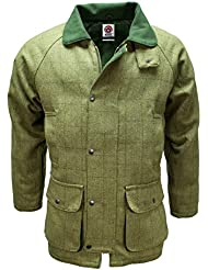 Mens Derby Tweed Breathable Hunting Shooting Jacket Coat Waterproof Wool by WWK / WorkWear King
