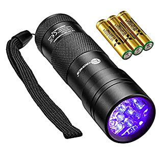 TaoTronics UV Torch, Black Light Ultraviolet Flashlight, 12 LEDs 395nm, 3 Free AAA Batteries, Detector for Dry Pets Urine & Stains & Bed Bug, Authenticate Currency