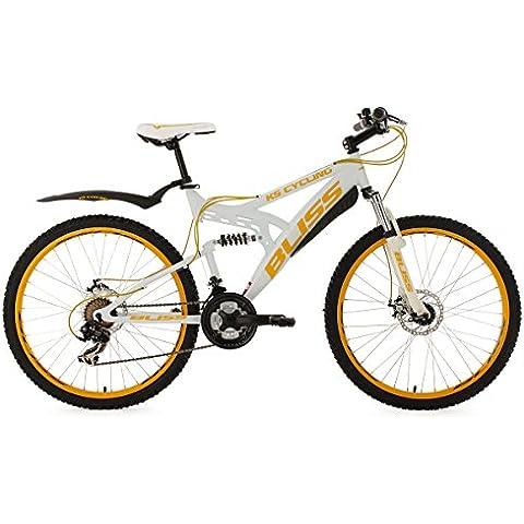 KS Cycling Fully Bliss - Bicicleta de montaña, color blanco / amarillo, talla M (165-172 cm), ruedas 26