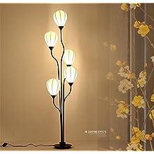Standleuchte Stehlampe Lesen Torchiere Fussboden Lampen Gewebe Lampenschirm Schmiedeeiserner Unterseiten Wohnzimmer