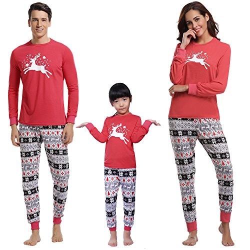 Aibrou Conjunto Familia Navidad Divertidos 100% Algodón y Conjunto de Pijama de Manga Larga