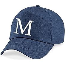 4sold–Calidad Algodón Verano Sol Sombrero tapas de nueva escuela de niños Kids Azul marino gorro deporte alfabeto A-Z Boy Girl ajustable Gorra de béisbol