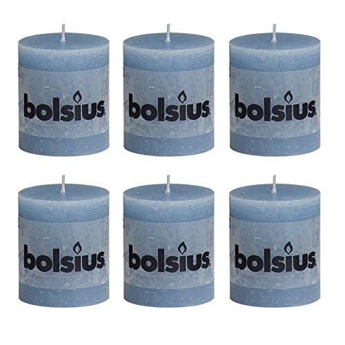 6x Rustic Stumpenkerze 80/68 mm von Bolsius / 33 Farben zur Auswahl (Eisblau (64))