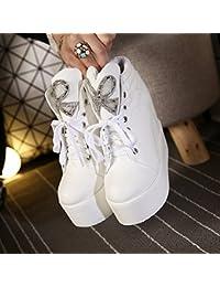 Encaje con Zapatillas con Zapatos Gruesos Al Final Del Aumento en Los Zapatos de Tacón Alto , blanco , EUR35