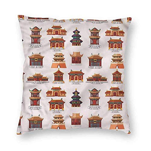 Dress rei Ancient China Square Form Decorative Pillow Antique House Pattern Sofa or Bed Set 18x18 Inch -