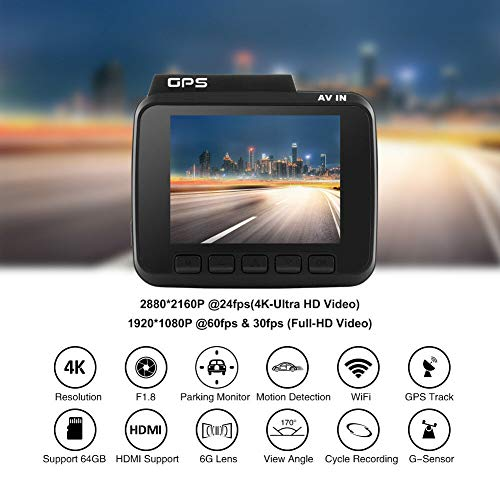 GS63H 4K 2160P Auto Kamera Dashcam WiFi DVR GPS Nachtsicht + 32G TF-Karte -