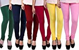 Rooliums Women's Cotton Leggings Combo (Pack of 6) (HRCLCOMBO6-6_Free Size_Multi Color)