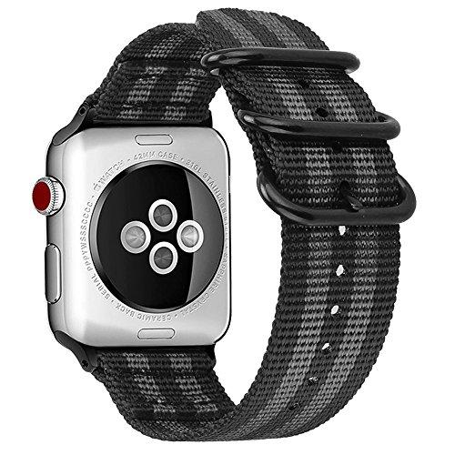 Fintie Armband für Apple Watch Series 4/3 / 2/1 - Premium Nylon atmungsaktive 44mm / 42mm Sport Uhrenarmband verstellbares Ersatzband mit Edelstahlschnallen, Schwarz und Grau
