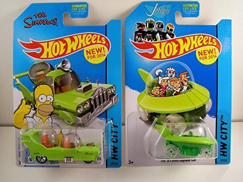 Hot Wheels 2014 HW City - The Simpsons The Homer & The Jetsons Capsule Car - Lot of 2! by Mattel