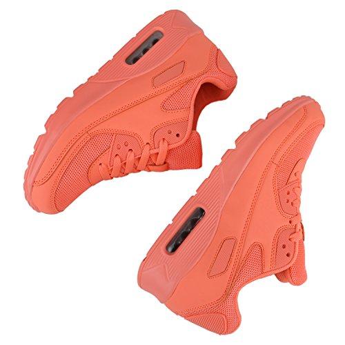Trendige Unisex Laufschuhe | Damen Herren Kinder | Sportschuhe Metallic Glitzer | Camouflage Sneaker Bunt | Schnür Sport Turnschuhe Peach