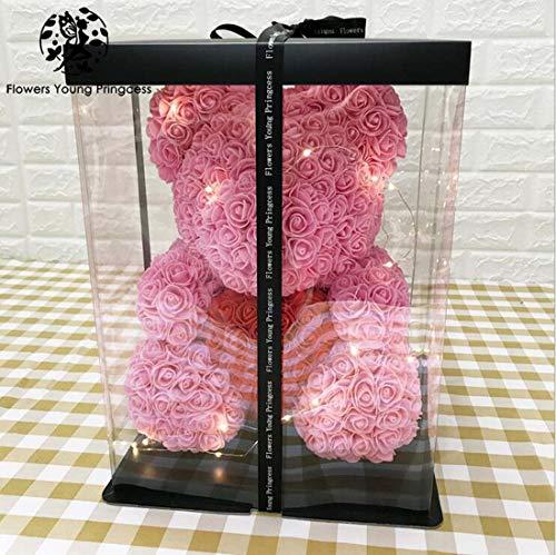 Swifter Master Rose Bear Cub für Immer künstliche Rose Bear Ewige Rose Bär Geburtstag Jubiläum Weihnachten Valentines Geschenk (40CM),pink (Rose Valentines Künstliche)