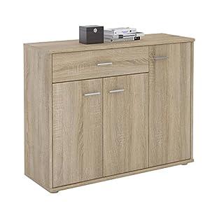 CARO-Möbel Kommode Estelle Sideboard Mehrzweckschrank, Sonoma Eiche mit 3 Türen und 1 Schublade, 88 cm breit