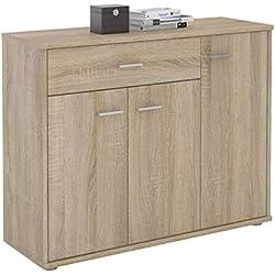 IDIMEX Buffet Coraline, Commode Meuble de Rangement avec 1 tiroir et 3 Portes, en mélaminé décor chêne Sonoma