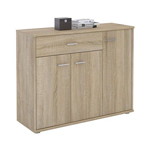 Kommode ESTELLE Sideboard Mehrzweckschrank, Sonoma Eiche mit 3 Türen und 1 Schublade, 88 cm breit