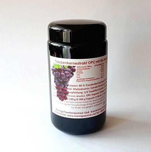 90 vegane Traubenkernextrakt Kapseln 380 mg reines OPC 95% plus natürliches Vitamin C aus Bio Acerola in Deutschland hergestellt 100% rein ohne jegliche Zusatzstoffe im Violett Glas