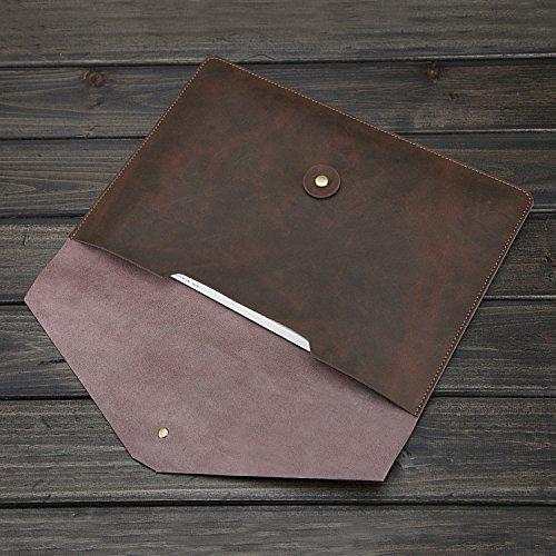 Protective Laptop Hülle Case 15 '' Zoll, elektrische Lüfter Vintage PU Leder Umschlag Clutch Bag Hülle für MacBook Air / iPad Tablet-Dunkelbraun