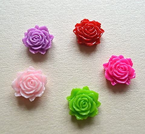 15pcs Random Mix Resin Cabochon Rose Flower Craft Embellishment Flatback 12x11mm