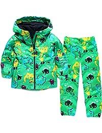 Dehutin Chaqueta De Lluvia Para Niños + Pantalones De Lluvia 2 Piezas Impresión Animal Conjunto De Ropa Para Los Chicos