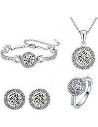 HFJ&YIE&H Set de joyería colgante collar pendientes pulsera anillo regalo de novia (Color clasificado)