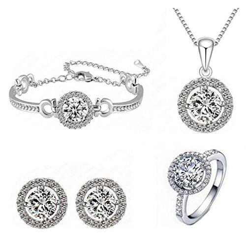 HFJ&YIE&H Schmuck-Set Anhänger Halskette Ohrringe Ring Armband Geschenk für die Braut (Farbe sortiert) , silver