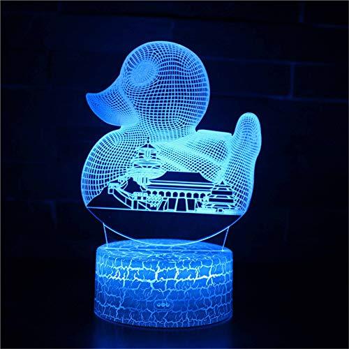 3D Optisches Nachtlicht Nachttischlampe Für Kinder LED Tischleuchte Dekoratives Licht 7 Farben Andern Touch Switch Acryl USB Batterie Crack Basis City (City Nähe In Von Party Der)