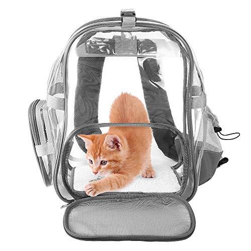 SlowTon Klare Rucksack, atmungsaktive Katze Rucksack mit Mesh-Fenster Katze Tasche mit Reißverschluss Tasche Wasserflasche Halter Pet Carrier transparente Tasche für Katzen Gewicht bis zu 10lbs (Grau)