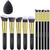EmaxDesign 11 Make-up Pinselsets 10 Stück Gold Schwarz Professionell Premium Synthetisch Kabuki Grundierung Kosmetik Bürsten Set Und 1 Stück EmaxBeauty Blender Schwamm