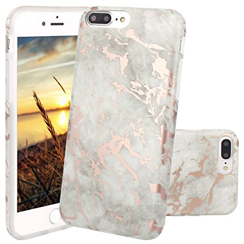 Cover iPhone 8 Plus, JIAXIUFEN TPU Gel Silicone Protettivo Custodia Case Cover Per Apple iPhone 7 Plus / iPhone 8 Plus - Bianco Marmo Design Shiny Rose Gold Cloud Gray