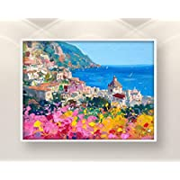 Positano Painting on Canvas Italy Seascape Original Wall Art Home Decor Gift