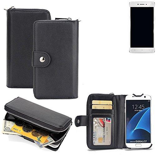 K-S-Trade 2in1 Handyhülle für Oppo R7 hochwertige Schutzhülle & Portemonnee Tasche Handytasche Etui Geldbörse Wallet Case Hülle schwarz