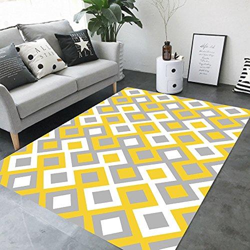 BWS_ Teppich-Weinlese-Traditioneller natürlicher Einfacher Moderner rechteckiger Klassischer europäischer Teppich für Schlafzimmer, Wohnzimmer, Studien, Restaurants, usw.120*160CM (Karo-kunst-materialien)