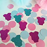 "Gender reveal party. Blue and pink bodysuit confetti 20 pieces. Twins. Boy and girl. Baby onesie confetti, 2"" (5 cm) circle confetti, table decor baby shower,"