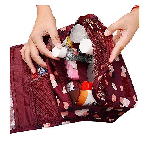 cuddty portátil Hanging Neceser Organizador de Viaje Bolsa De Cosméticos Multifuncional bolsa de almacenamiento con gancho para colgar Purple Daisy talla única