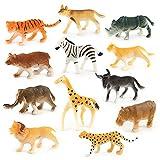JIUZHOU en Ligne Magasin de Jouets pour Enfants 12pièces Assorties Plastique Jouet Animaux Sauvages Jungle Zoo Figure