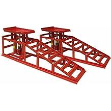 DEET®, rampe di sollevamento, per auto/furgone, con cric da 2tonnellate. Kit con cric idraulico professionale [rosso]