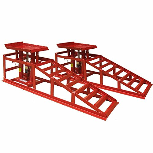 Deet®, rampe di sollevamento, per auto e furgone, con cric da 2tonnellatekit con cric idraulico professionale [rosso].