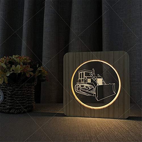 Acryl-leg Warmers (3D Illusionslampe Kreative Bulldozer Pattern 3D Holz Acryl Illusion LED Nachtlampe USB Angetrieben Warme Lichter Schreibtischlampe Geschenk Für Kinder Kinder Erwachsene Schlafzimmer Wohnzimmer Dekorat)
