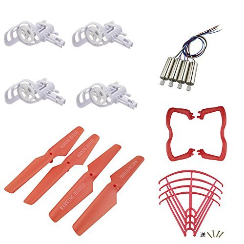 Fytoo Accessories Full Propellers for Syma X5C X5 Explorers RC Quadcopter Helicopter Drone Spare Parts Red (4x Propellers & 4x Engine Frames & 4x Engines & 4xPropeller Protector Cover & 2x Undercarriage)