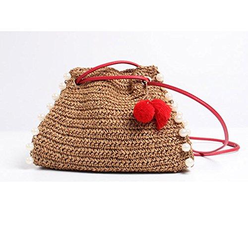 GAOQQ Strand Stroh Schulter Slung Ball Mode Urlaub Handtasche Für Junge Damen