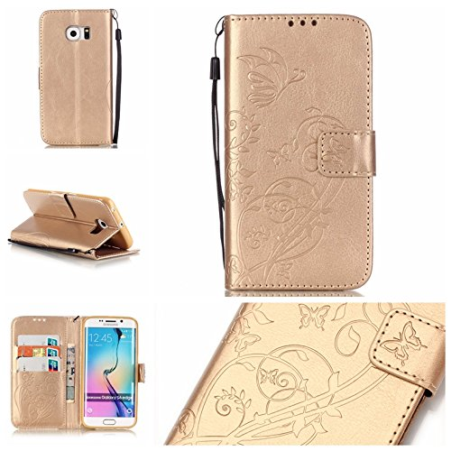 Samsung Galaxy S6 Edge Case with Free Screen Protector,Funyye Leather Wallet Strap Cover with Card Slots Embossed Design Full Protection Stand Case Cover for Samsung Galaxy S6 Edge - Gold