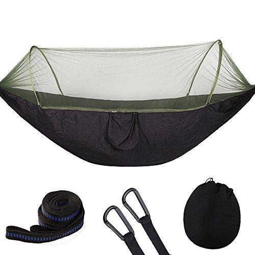 Pinkdreamland 2 persona amaca campeggio con zanzariera, pop-up light portable doppio paracadute amaca, swing sleep amaca, (nero)